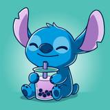 Stitch Drinking Boba Wallpapers